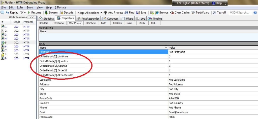 HTTP form post fields using Fiddler