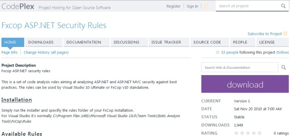 FxCop ASP.NET Security rules
